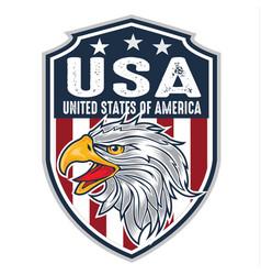 Head eagle mascot logo flagusa america vector
