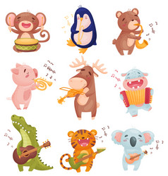 Humanized animals with musical instruments vector