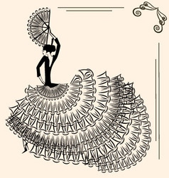 Image of flamenco dancer with fan vector