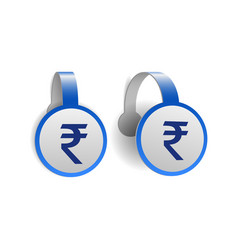 Indian rupee symbol on blue advertising wobblers vector