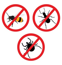 Insect prohibition sign vector