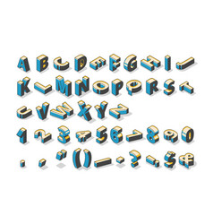 isometric alphabet numbers and punctuation marks vector image
