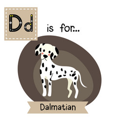 Letter d tracing standing dalmatian vector