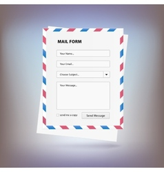 Mail form to send a message from the site vector image