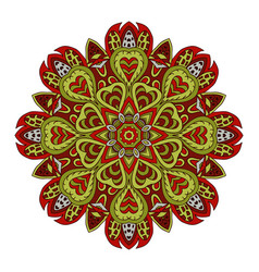Mandala doodle drawing colorful round ornament vector