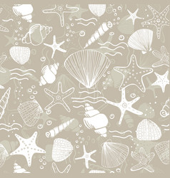 marine seamless pattern sea life vector image