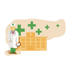 medicine concept with doctor in thin line style vector image