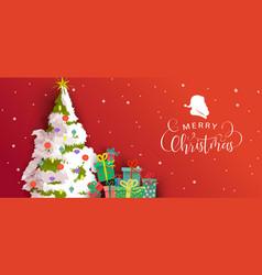 merry christmas card festive holiday pine tree vector image