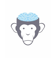 Monkey brain Blue Animal Head Logo for Res vector image