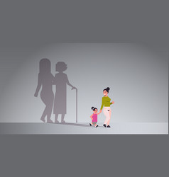 Mother with daughter holding hands shadow young vector