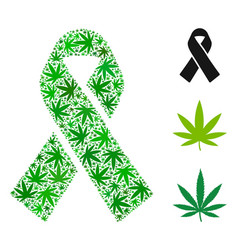 Mourning ribbon composition of marijuana vector