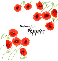Nature background with a red watercolor poppy vector