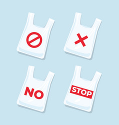 no plastic bags signs and icons set vector image