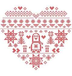Nordic pattern in hearts shape with penguin 1 vector image