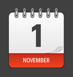 november 1 calendar daily icon vector image