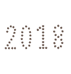 Numeral 2018 made of animal pawprints track vector