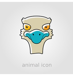 Ostrich flat icon Animal head vector