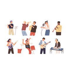 people playing musical instruments vector image