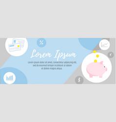 piggy bank banner template personal financial vector image