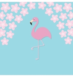 Pink flamingo on one leg Exotic tropical bird vector