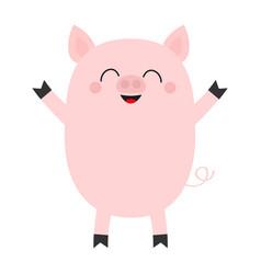 Pink pig cute cartoon funny baby character vector
