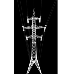 power transmission tower with wires vector image