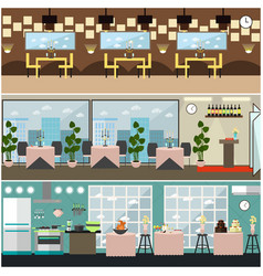 Restaurant interior set in flat style vector