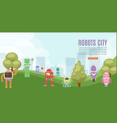 robots toys city for kids banner with cute robots vector image
