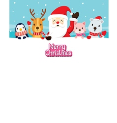 Santa Claus And Animals On Snow vector image