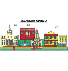 Savannah georgia city skyline architecture vector