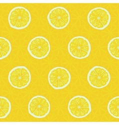 Seamless pattern slices of yellow lemons vector image