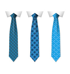 set different blue ties isolated on white vector image