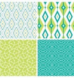 Set green ikat diamond seamless patterns vector
