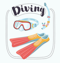 set of diving - flippers and a mask with a tube vector image