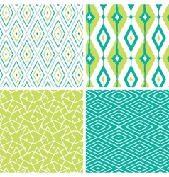 Set of green ikat diamond seamless patterns vector image
