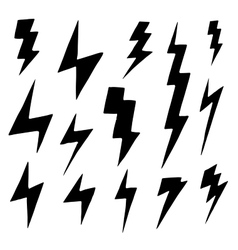 Set of simple lightning doodle group of hand drawn vector image