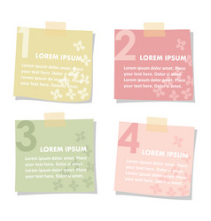 set of sticky notes papers with flowers spring vector image