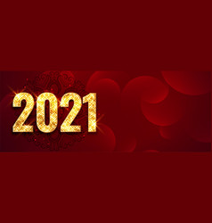 Shiny red 2021 happy new year golden sparkle vector