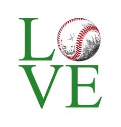 sketch baseball ball with typography vector image