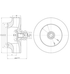 sketch of wheel with section and hatching vector image