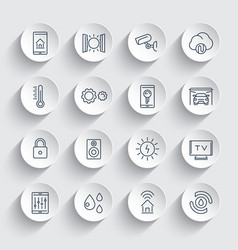 smart house system line icons set vector image