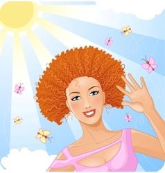 Smiling beautiful girl enjoys summer time vector image