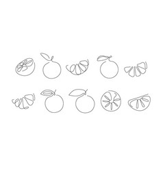 Sticker one line art style lemons abstract food vector