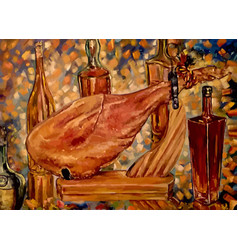 Still life jamon and wine vector