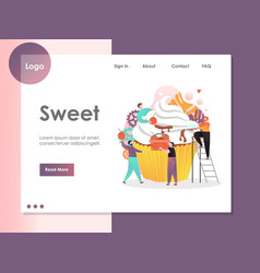 sweet website landing page design template vector image