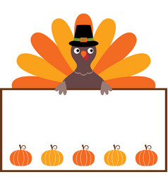 Thanksgiving card with a turkey and a blank space vector