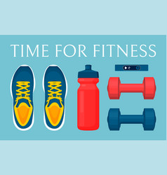 time for fitness blue poster vector image