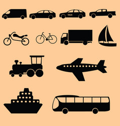 transportation icon-black vector image