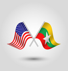 two crossed american and burmese flags vector image