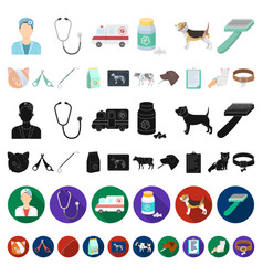 veterinary clinic cartoon icons in set collection vector image